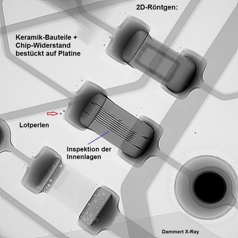 2D-Röntgen Keramik Kondensator + Widerstand-BE (bestückt auf PCB)