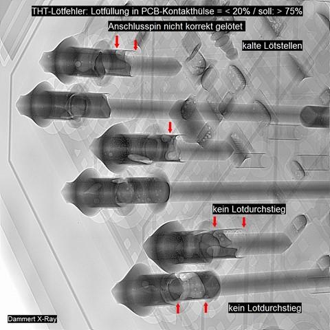 Röntgenanalyse an Leistungs-Elektronik_(THT-Lotfüllung. kl.20%)