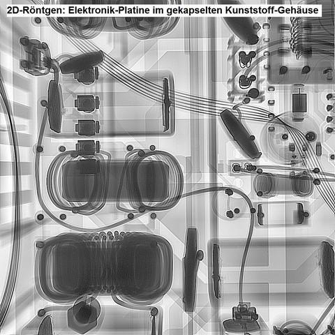 2D-Röntgen an einer Elektronik-Platine (im gekapselten Gehäuse)