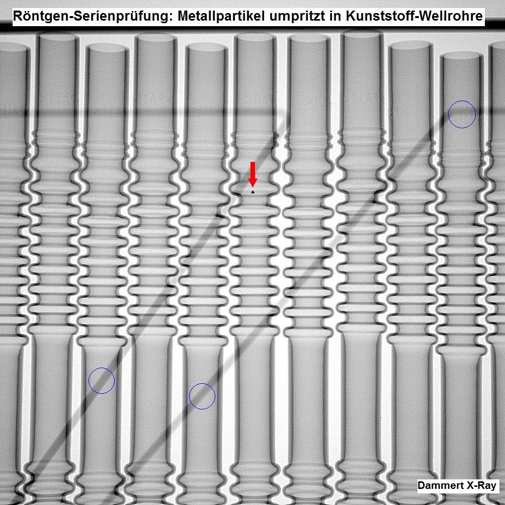 Serienprüfung hins. Metallpartikel in Kunststoff-Wellrohren